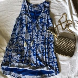 Blue and white patterned dress